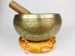 "6"" (3rd Eye Chakra) Stunning Carved Bronze Nepalese Singing Bowl 1 kg ॐ"