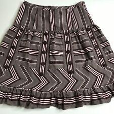 Anthropologie Odille Skirt Size 2 BOHO Brown Pink Chevron Prairie A-Line ANTHRO