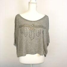 Wildfox Women's T Shirt Size XS Cropped Oversize Eagle Southwest