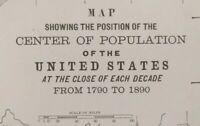 """1900 Vintage CENTER OF POPULATION Map ~ 14""""x11"""" Old Antique Original 1790 - 1890"""