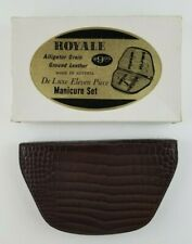 Vintage 1950's 60's Royale New Alligator Grain Leather 11 Piece Manicure Set