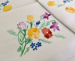 Vintage Hand Embroidered Tablecloth Cotton & Lace Pretty Spring Flowers No.4