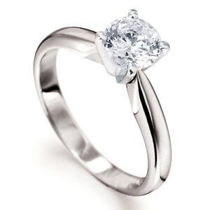 0.50CT SOLITAIRE DIAMOND 4 TULIP CLAW PLATINUM ENGAGEMENT RING + BOX 1/2ct 950