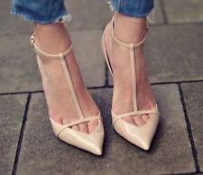NWOB ZARA  low cut heels nude beige patent leather t-bar heels SIZE 7