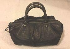 FRANCESCO BIASIA Chocolate Brown Slouchy Fabric Barrel Handbag w/Double Handle