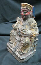 ancient hand carved wood figurine Buddha relic / some original gild & polychrome