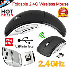 2.4Ghz Wireless Arc Folding Optical Scroll Wheel Mice Mouse For PC Laptop Black