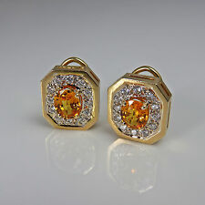 Luxury VIVID Canary Yellow Natural Sapphire Diamond Earrings 1980s Fine 14K Gold