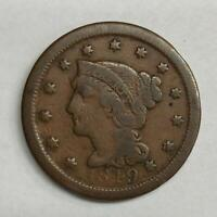1849 Braided Hair Large Cent 1¢ Very Good