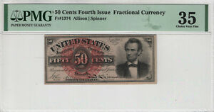 50 CENT FOURTH ISSUE POSTAL FRACTIONAL CURRENCY FR.1374 LINCOLN PMG VERY FINE 35