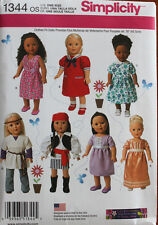 """18"""" GIRL DOLL CLOTHES Simplicity Sewing Pattern 1344 American Made NEW Uncut"""
