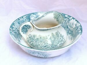 Antique French Floral Ceramic Toilet set Pitcher & Basin bowl SARREGUEMINES 1900
