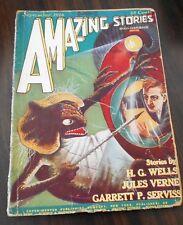 AMAZING STORIES #6-09/1926-GERNSBECK-JULES VERNE-H G WELLS-FRANK R PAUL-good
