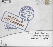 LIVRE AUDIO / LITTERATURE - INCONNU A CETTE ADRESSE : KRESMANN TAYLOR