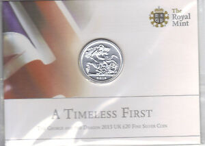 MINT CONDITION 2013 The George and the Dragon UK £20 Coin, 999 Fine Silver