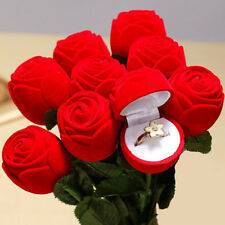 Red Rose Engagement Wedding Earring Ring Pendant Jewelry Display Gift Box