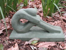 "11 1/2"" Cement Yoga Zen Meditating Garden Art Concrete Green Patina Statue"