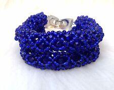 Dark Navy Blue Crystal Beads Bracelet Bracelet Jewellery Set