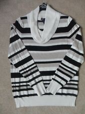 EX M&S BLACK NATURAL STRIPE SUPER FINE KNIT COWL NECK JUMPER SIZE 8 10 18 20 22