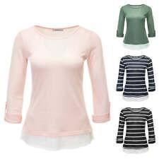 Hailys Damen Langarmshirt Blusenshirt Shirt Bluse Feinstrick Basic Color Mix NEU