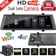 10'' 1080P Android GPS Car DVR Dash Camera 2-Lens 4G WiFi ADAS Rearview Mirror