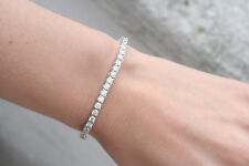 5.0 CT F SI IDEAL CUT NATURAL DIAMOND TENNIS BRACELET 14K WHITE GOLD 7 INCHES