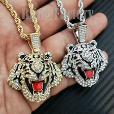 """Iced Unisex Hip Hop Lab Diamond Tiger Pendant & 24"""" Rope Chain Bling Necklace"""