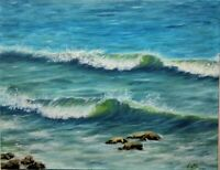 "18""/14""oil painting, ocean, seascape,nature, realistic,waves,surf painting"