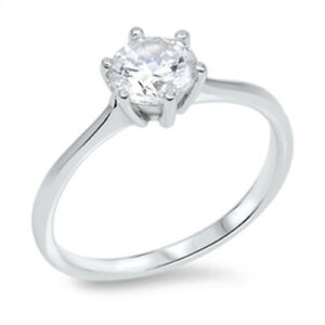 925 Sterling Silver 7 mm 1.3 Carat Cubic Zirconia 6 Prong Solitaire Ring