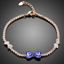 Made With Purple Swarovski Crystals Rhinestones Rose Gold Plated Chain Bracelet