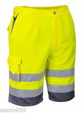 Portwest EN471 E043  Large Hi-Vis Polycotton Shorts