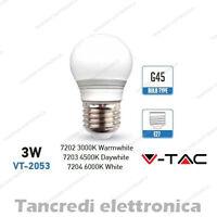 Lampadina led V-TAC 3W = 25W E27 VT-2053 miniglobo bianca attacco grande smd G45
