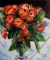 Pierre Renoir Roses Repro, Quality Hand Painted Oil Painting 20x24in