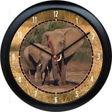 "Elephant Walk 10"" Clock African Safari Wild Animal Print Zoo Jungle African"
