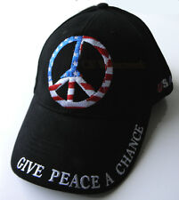 USA FLAG PEACE SIGN EMBLEM GIVE PEACE A CHANCE EMBROIDERED BASEBALL CAP HAT