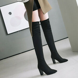 Women Sexy Leopard High Heels Nightclub Winter Over Knee Boots Shoes Size 34-43