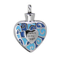 Always in My Heart Cremation Urn Ash Keepsake Pendant for Necklace Jewellery