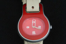 ALESSI AL9001 BUCKLE QUARTZ WATCH BY PATRICA URQUIOLA RED GREY WITH CREAM STRAP