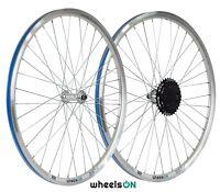QR 26 inch wheelsON Front Rear Wheel set 6/7/8 Spd Shimano Freewheel Silver
