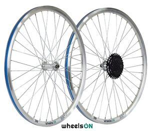 QR 26 inch wheelsON Front Rear Wheel set 6/7/8/9 Speed Shimano Silver