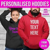 Personalised Hoodie Custom Text Hoody Work Sweater Mens Ladies Gift Company