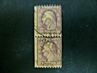 USA Vert Pair Wash-Franklin 1916-22 Issue #489 Used - See Description & Images