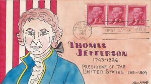 SCOTT 1055 THOMAS JEFFERSON BEN KRAFT HAND PAINTED FIRST DAY COVER