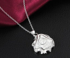 Wholesale 925 Sterling silver Plated Fashion Women Rose Pendant Necklace Jewelry
