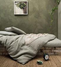 100% Leinen Bettwäsche Garnitur Bettbezug 155x220/40x80 stonewashed Natur Neu