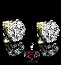 Men's Ladies Sterling Silver Yellow Gold Finish Genuine Diamond Stud Earrings 8m