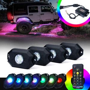 Xprite 4pc RGB Aurora Light LED Rock Lights Underglow Remote for Steamer ATV UTV