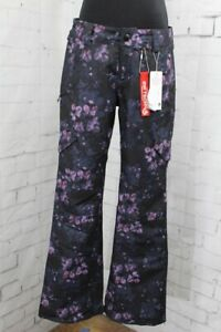Volcom Bridger Insulated Snowboard Pants, Women's Small, Black Floral Print New