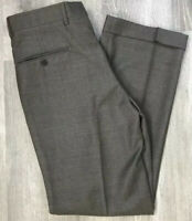 Jos A Bank Mens Signature Tailored Fit Pleated Cuffed Wool Gray Pants Size 32