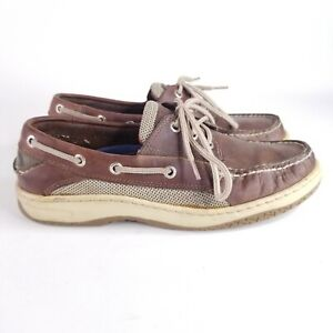 Sperry Top-Sider Men's Size 8.5M Billfish 3-Eye Dark Tan and Cream Boat Shoe EUC